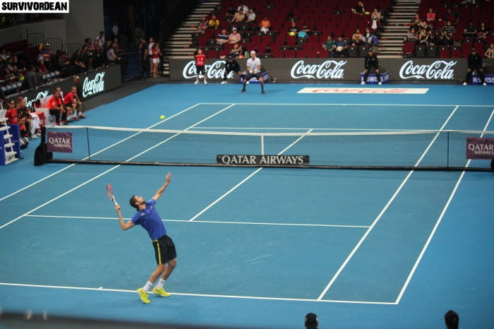 Marin Cilic and Andy Murray in action