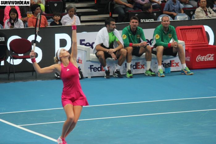 Kristina Mladenovic in action