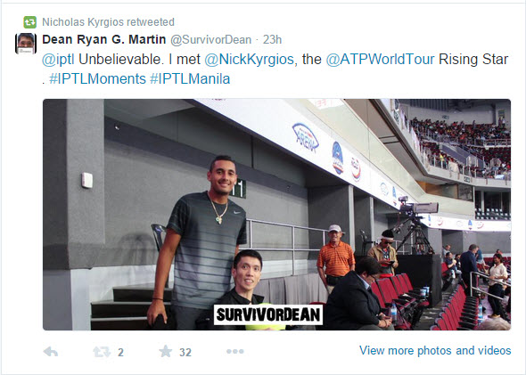 Nick Kyrgios retweeted our photo together