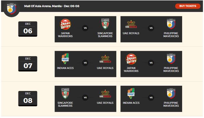 IPTL 2015 Schedule